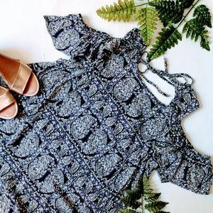 Angie | Cold Shoulder Boho Tunic Shift Mini Dress